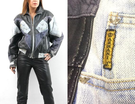 Up-Cycled Denim Leather Jacket / Patchwork Jacket