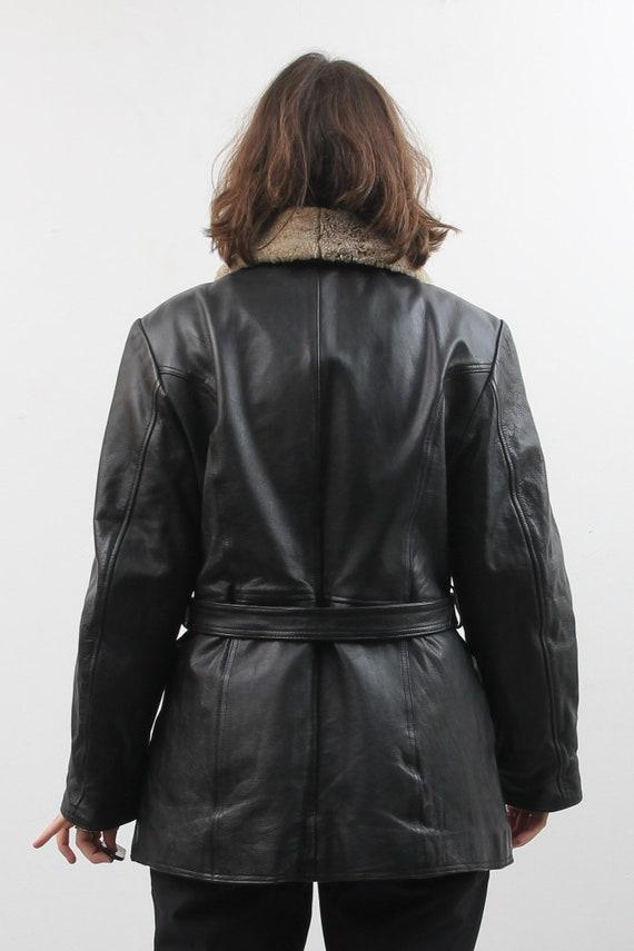 Vintage Black Leather Jacket / Collared Belted Le… - image 4