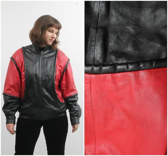 Vintage Leather Bomber / Black Red Leather Jacket