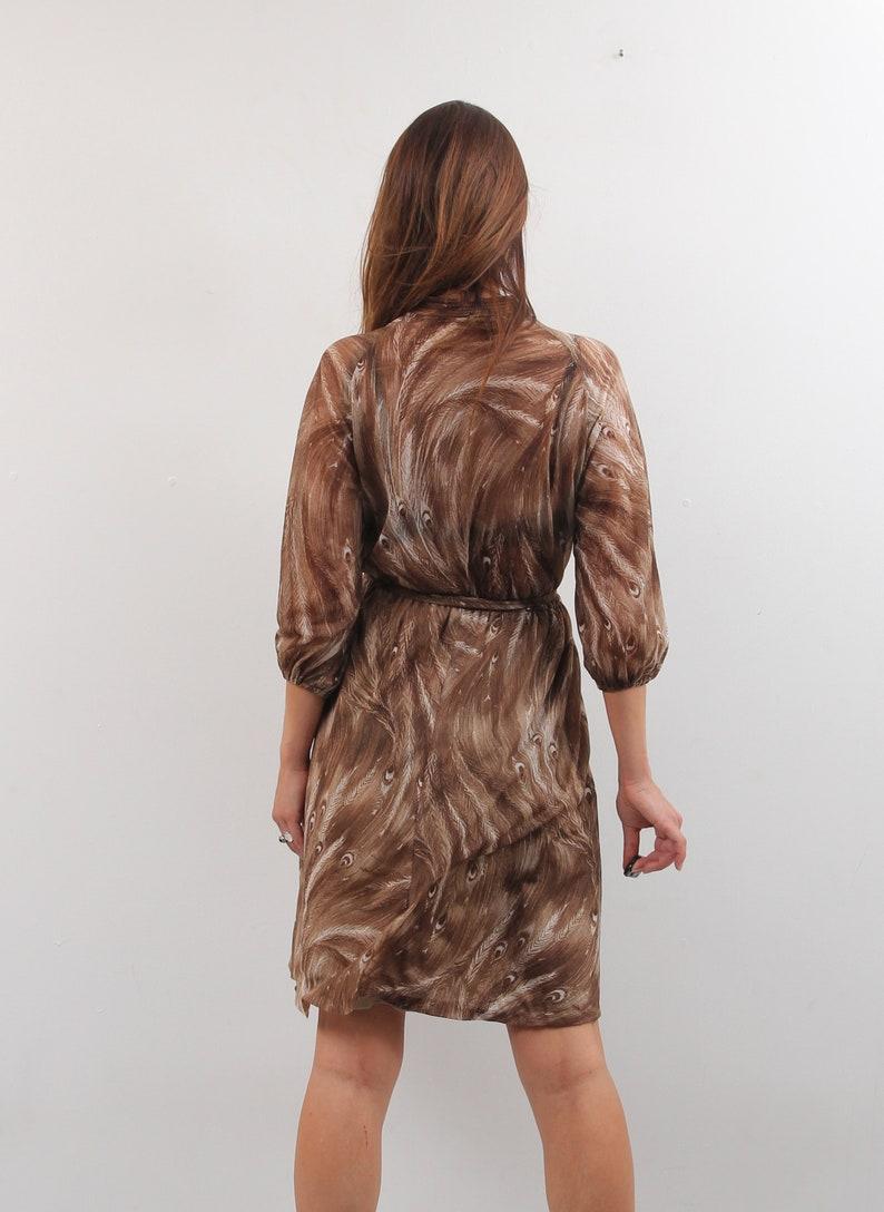 70s Brown Dress  Belted Dress  Midi Dress  Vintage Dress  Large Dress  Boho Bohemian Dress  Peacock Dress  Waisted Dress Retro Dress
