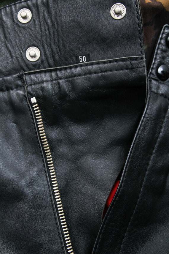 Vintage Men Black Leather Pants / 90s Leather Pan… - image 10