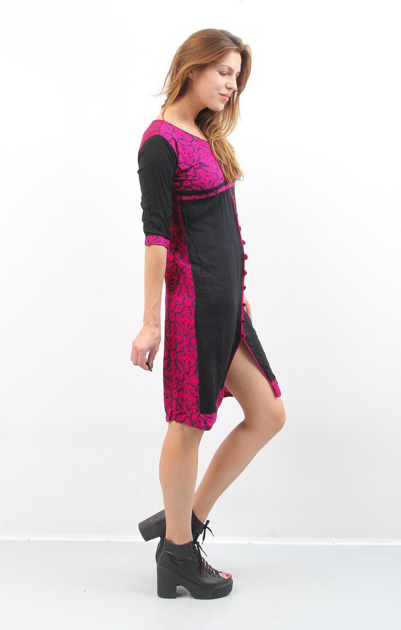 Vintage Caftan  Vintage Kaftan  Black Pink Dress  Vintage Tunic  Midi Dress  Summer Dress  Casual Dress  Day Dress  Midi Tunic