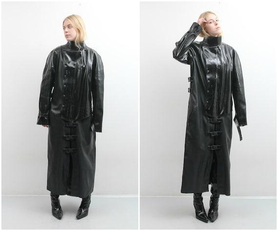 Handmade Men Black Goth Coat / Men PVC Coat / Medi