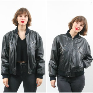 Takitop Luna Stylish Varsity Black Bomber Real Leather Jacket Women Banana Collar