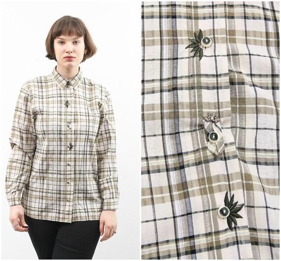Oktoberfest Clothing,\u00a0German Austrian fashion woman White Trachten Bavarian Blouse Rare checkered Vintage Crop Dirndl Top