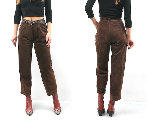 Vintage Brown Suede Leather Pants / Woman Suede Pa