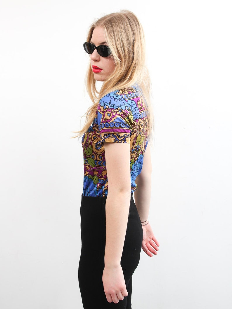 Vintage Romeo Fashion Top  Small 90s Top  Floral Print Short Sleeve Shirt  Colorful Bohemian Top  Button Up Collared Shirt  Boho Top