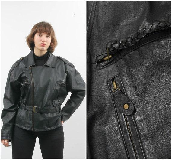 Vintage Black Leather Jacket / Belted Leather Jack