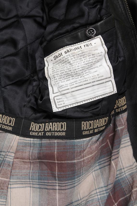 Vintage Black Leather Jacket / Collared Belted Le… - image 9