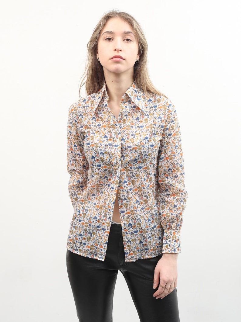 70s Floral Blouse  Button Up Long Sleeve Shirt  Small Women Top  Boho Bohemian Blouse  Colorful Printed Blouse  Vintage Summer Blouse