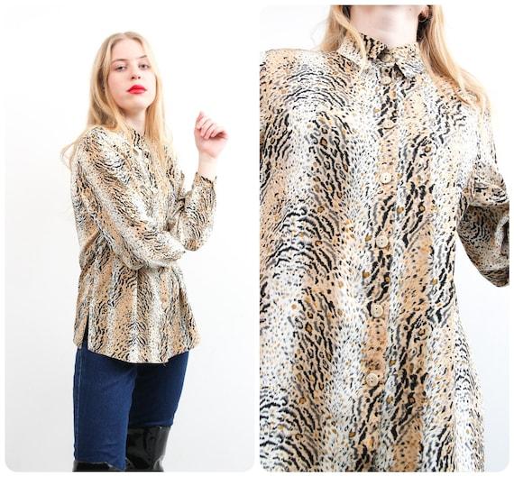 Vintage Biaggini Animal Print Blouse  Long Sleeve Printed Brown Top  Button Up Boho Bohemian Blouse  Large Retro Blouse  Loose Women Top