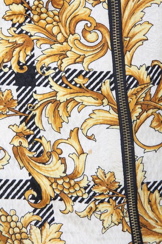 Vintage Silk And Wool Printed Bomber / Floral Bom… - image 9