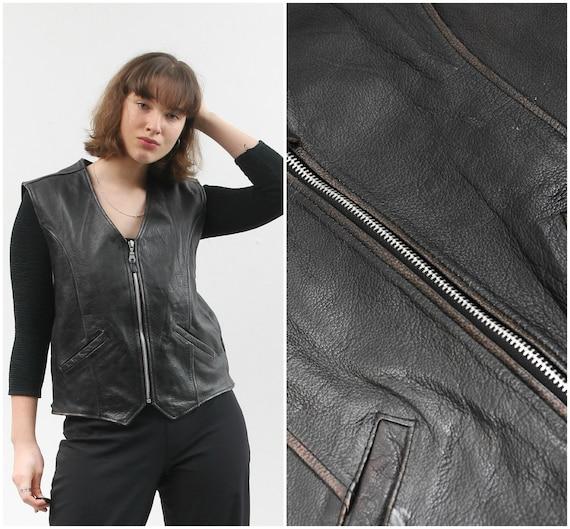 Vintage MAURITIUS Leather Vest / Real Leather Vest