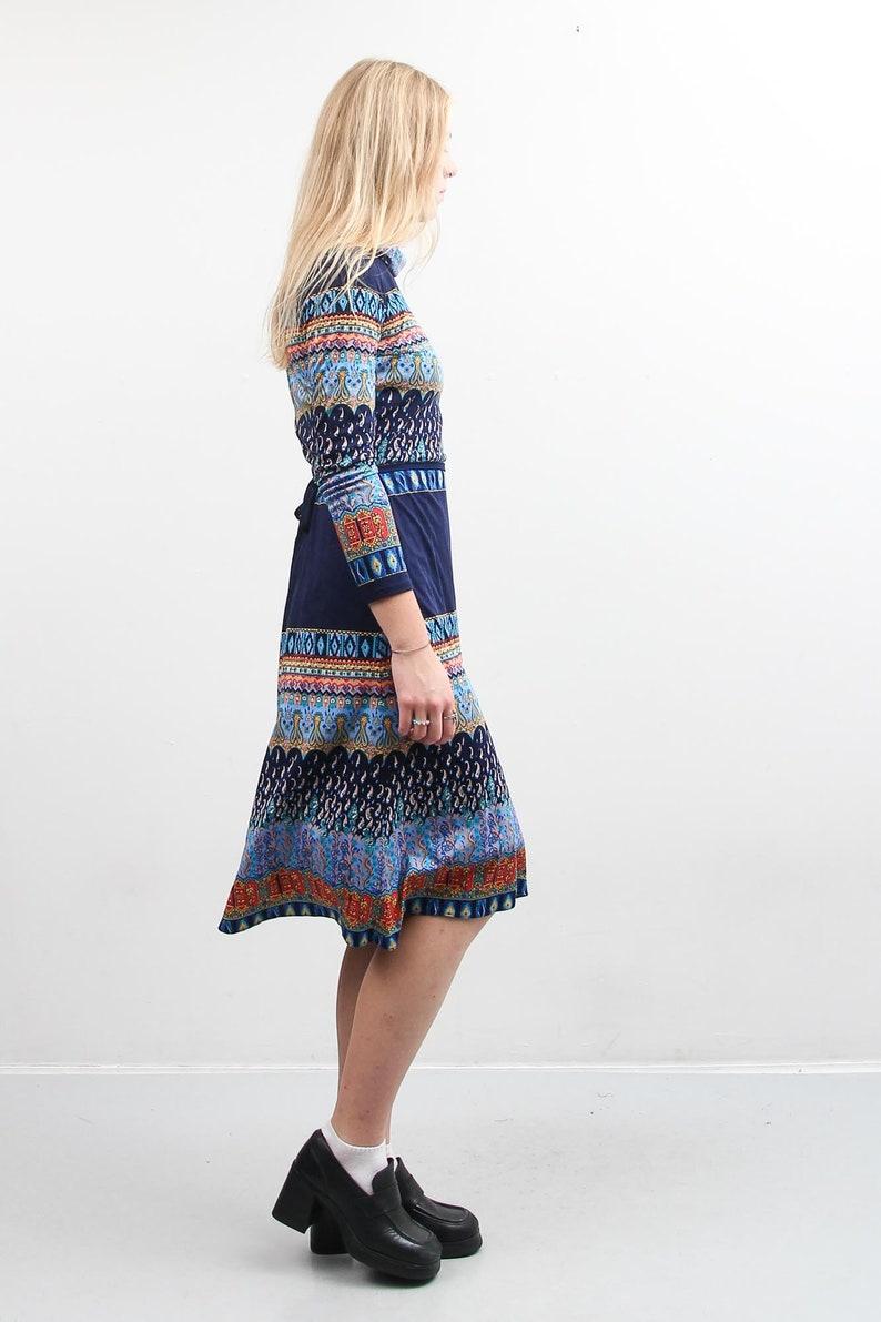 Vintage Colorful Dress  Printed Abstract Dress  Medium Dress With A Belt  Boho Summer Dress  Bohemian 90s Dress  Long Sleeve Midi Dress