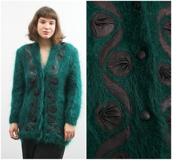 Vintage Green Mohair Cardigan With Leather Details