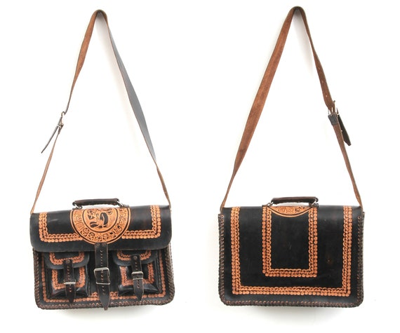 Tooled Briefcase / Tooled Portfolio Satchel / Ethn