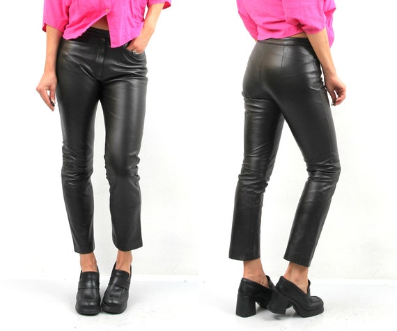 90s Arma Brown Leather Pants / Women Leather Pants