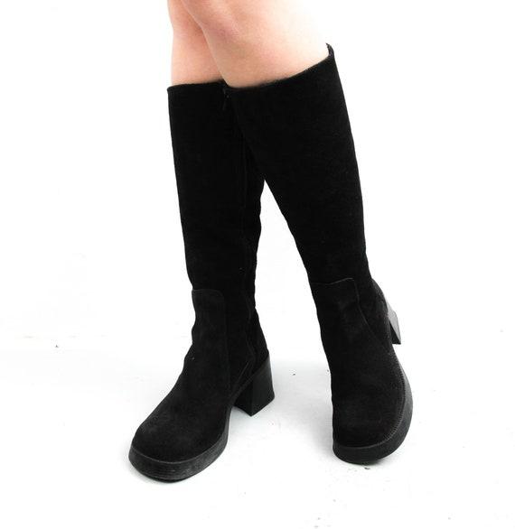 Vintage Black Boots / Suede Leather Boots / Women