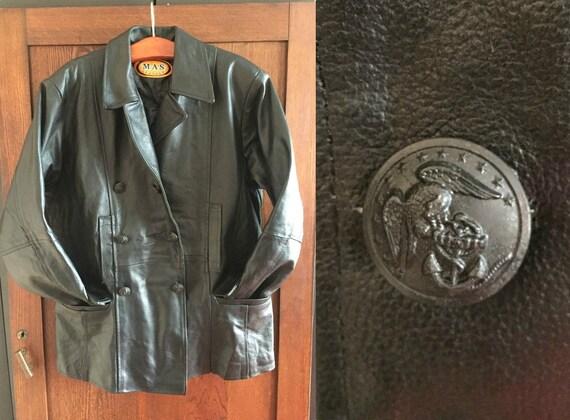 80s Man Black Leather Blazer / MAS Leather Blazer