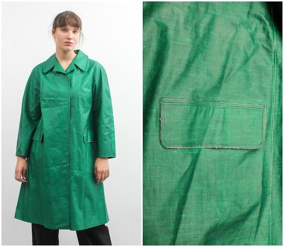 Vintage Green Rukka Raincoat / Long Bohemian Rain… - image 1