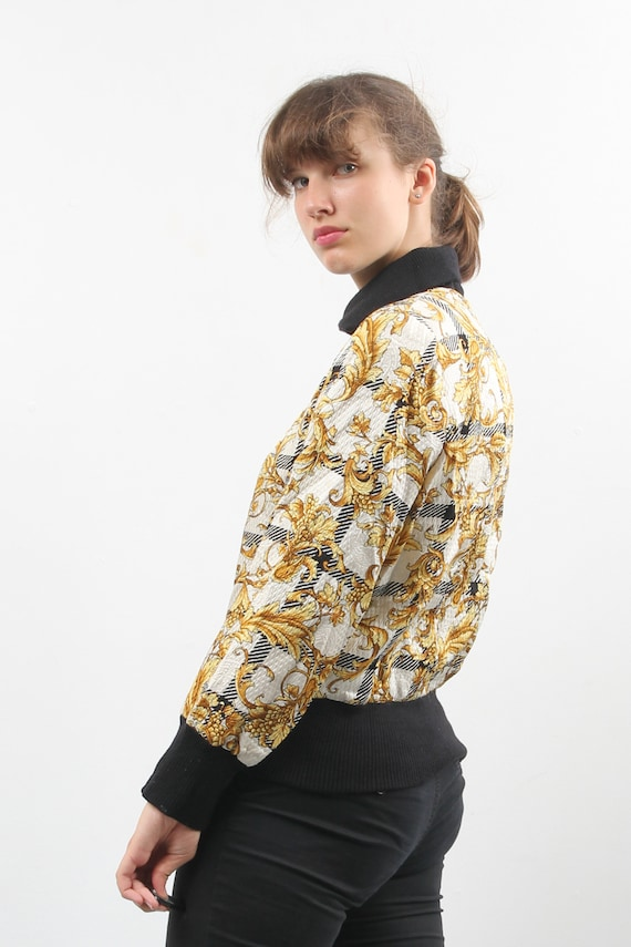 Vintage Silk And Wool Printed Bomber / Floral Bom… - image 4