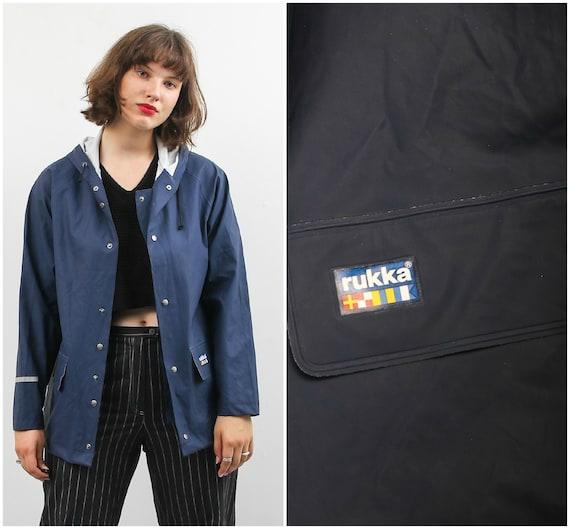 90s Rukka Raincoat / Vintage Blue Raincoat / Unise