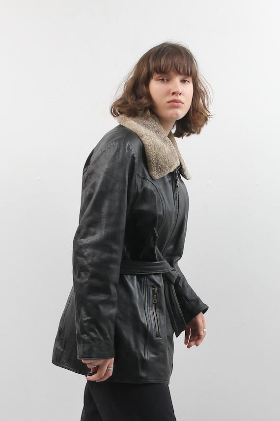 Vintage Black Leather Jacket / Collared Belted Le… - image 5