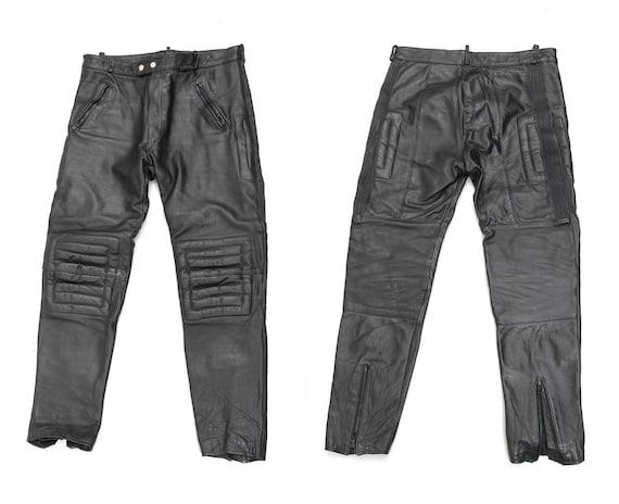 80s Black Leather Motorcycle Pants / Racer Pants /