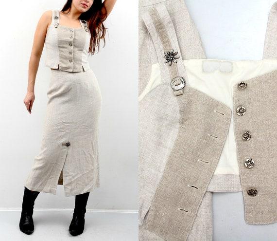 Vintage Linen Set / Trachten Set / Skirt Top Set /