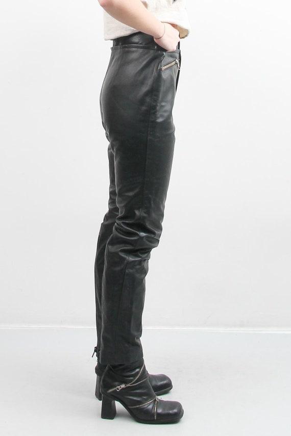 Vintage Men Black Leather Pants / 90s Leather Pan… - image 5