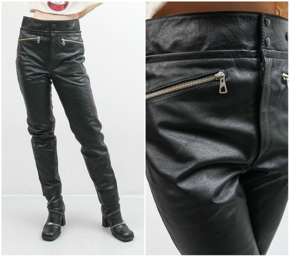 Vintage Men Black Leather Pants / 90s Leather Pan… - image 1