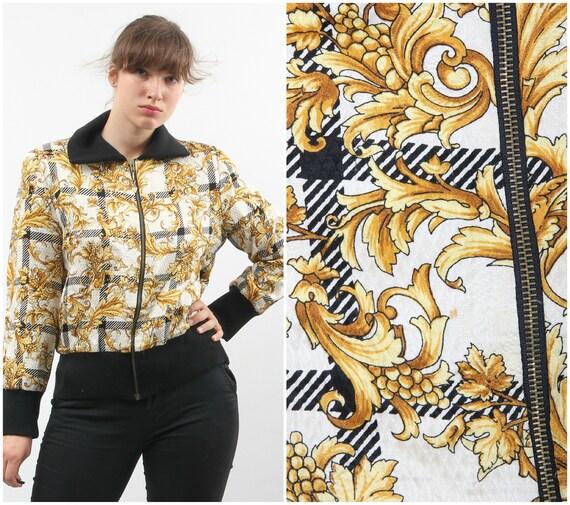 Vintage Silk And Wool Printed Bomber / Floral Bom… - image 1
