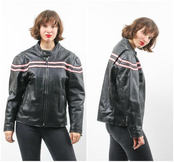 90s Moto Jacket /  Montana Jacket / Leather Moto J