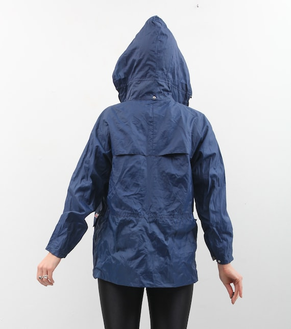 90s Blue Raincoat / Hooded Raincoat / Small Rainc… - image 2
