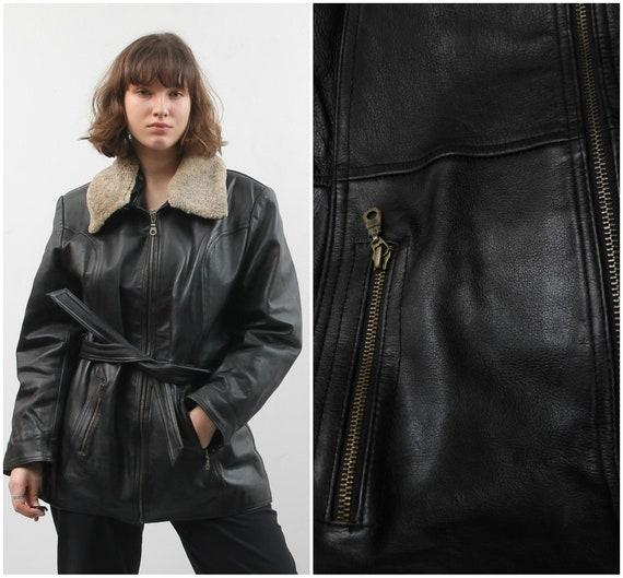 Vintage Black Leather Jacket / Collared Belted Le… - image 1