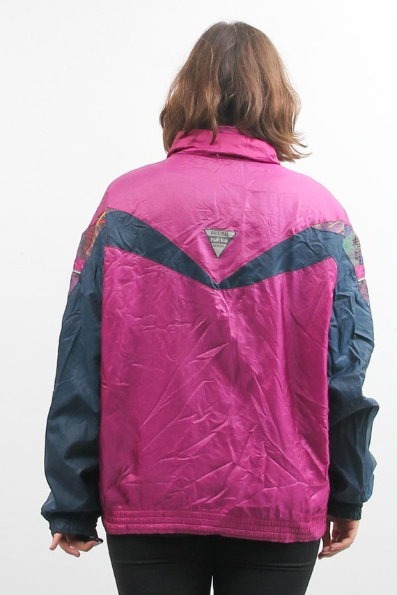 Vintage Rukka Windbreaker  90s Zip Up Track Jacket  Rukka Sports Jacket  Vintage Activewear  Women Rukka Jacket  Pink And Blue Jacket