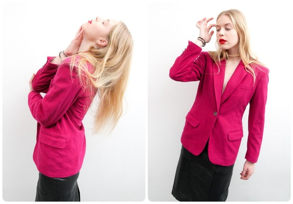 Vintage Krizia Jeans Blazer / 90s Hot Pink Blazer