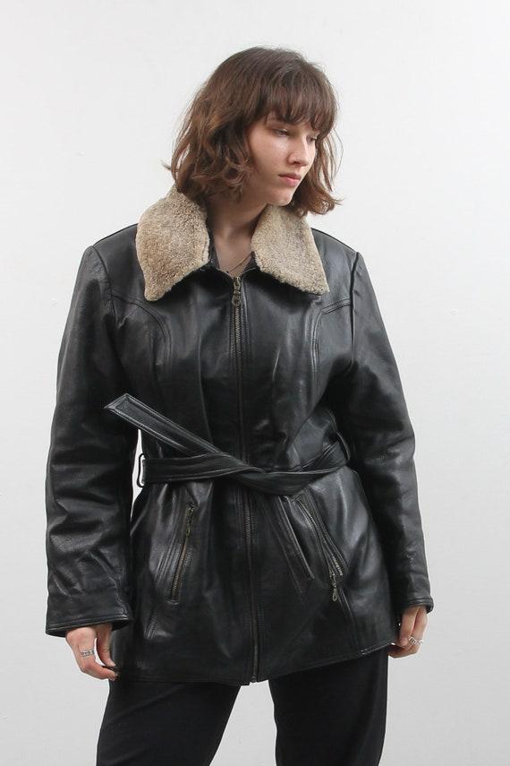 Vintage Black Leather Jacket / Collared Belted Le… - image 2