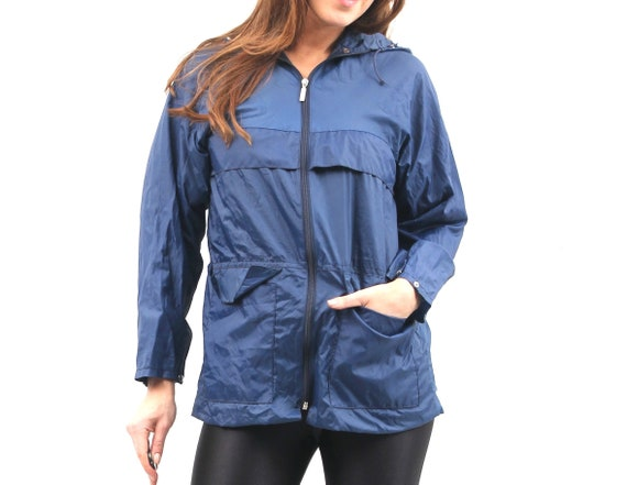 90s Blue Raincoat / Hooded Raincoat / Small Rainc… - image 1