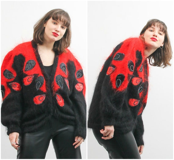 Vintage Black Red Cardigan / Embroidered Retro Car
