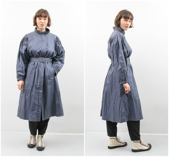 Vintage Raincoat / Blue Long Raincoat / Women Medi