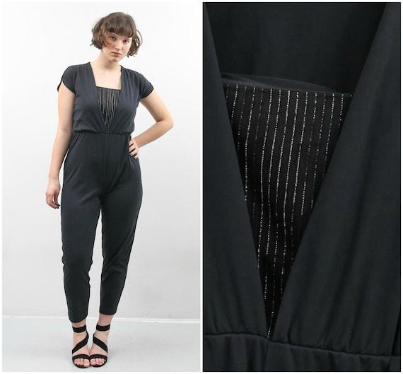 Vintage Black Bodysuit / 90s Bodysuit / Women Jump
