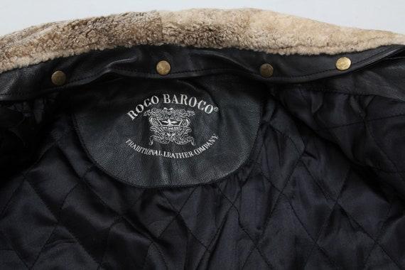 Vintage Black Leather Jacket / Collared Belted Le… - image 8