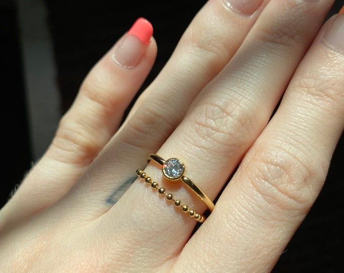 CZ Ring Dainty Gold Ring Cubic Zirconia Dainty Ring SALE 14k Gold Filled Stackable Ring Minimalist Ring