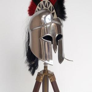 Troy achilles armor helmet knight crusader reenactment black spartan helmet with tripod stand christmas gift