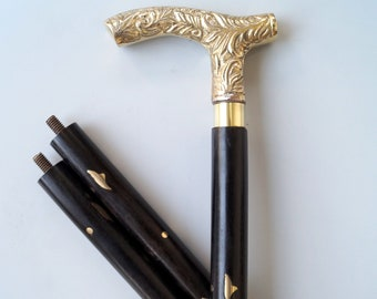 Gentleman Style laiton massif poignée en bois canne//baguette//baton en bois canne