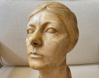 Circa 1930's  Plaster Bust Sculpture Of Woman