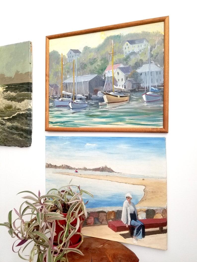 Mid Century Vintage Beach Scenic Painting