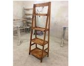 Flower Pot Ladder, Plant Stand, Folding Display Shelf, Rustic Wood Stand, Foldable Ladder Shelf, Flower Pot Ladder, Free Standing