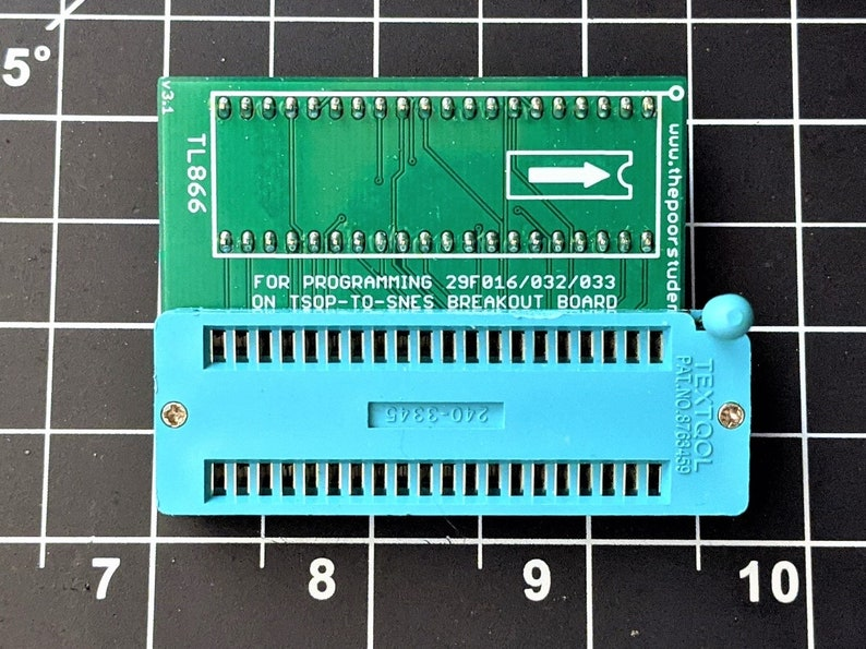 TSOP-to-SNES Programming Adapter 29F016/032/033 ZIF Socket